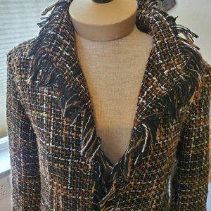 Vintage nubby wool fringed coat